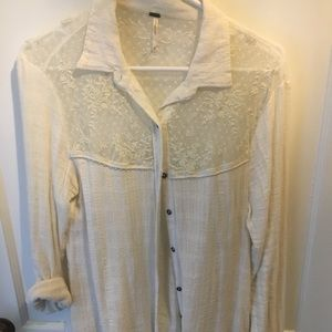 Free people lace button up